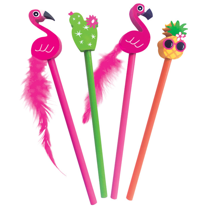 Set of 4 Tropical Pencil/Eraser Toppers
