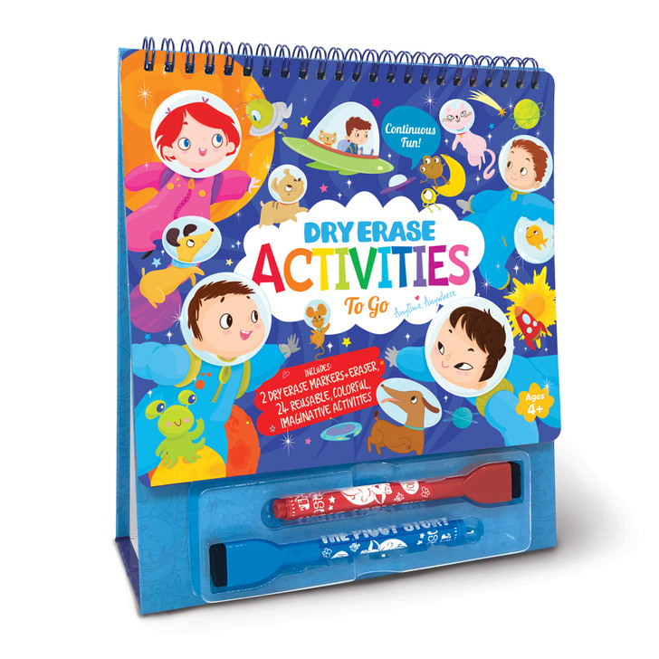 Continuous fun with Dry Erase Activities To Go.  24 pages of themed activities, 2 dry erase marker/erasers and build-in easel stand for playing and displaying.