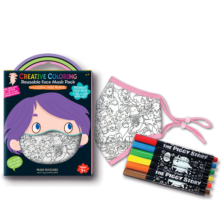 Creative Coloring Reusable Face Mask for Kids in Magical Mermaid Design.  Includes 6 non toxic fabric markers and 1 triple layer face mask.