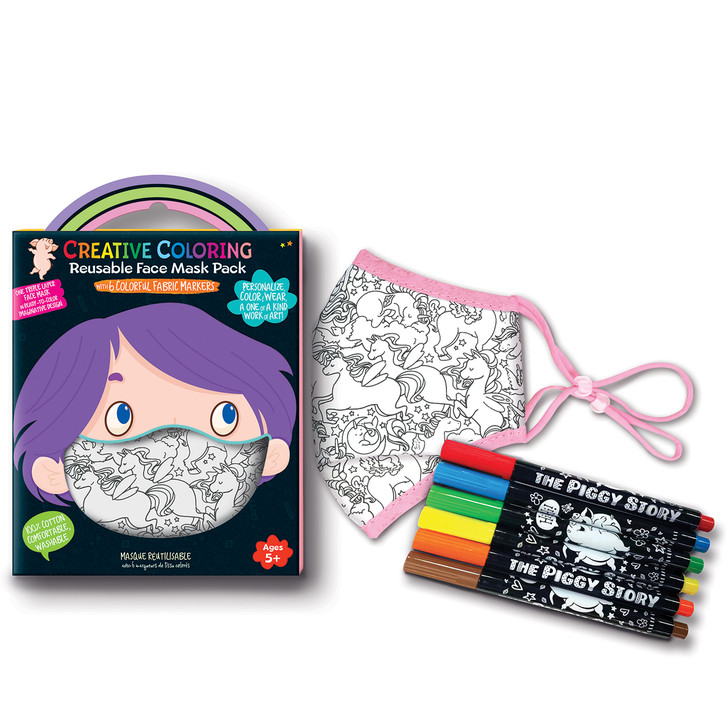 Creative Coloring Face Mask in Unicorn Fantasy Design.  Includes 6 colorful, non-toxic fabric markers and 1 triple layer face mask.