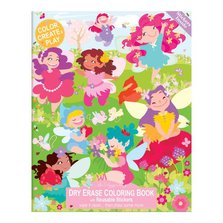 Color over and over again with our Fairy Garden Dry Erase Coloring Book.  Includes 2 pages of reusable stickers to create magical scenes.