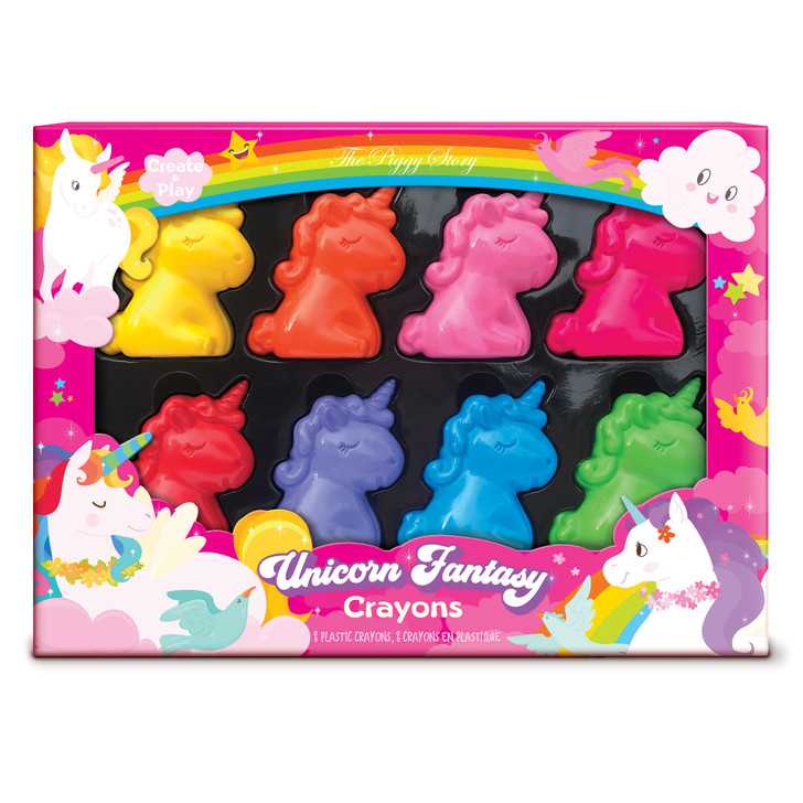 Unicorn shaped crayons in bright colors