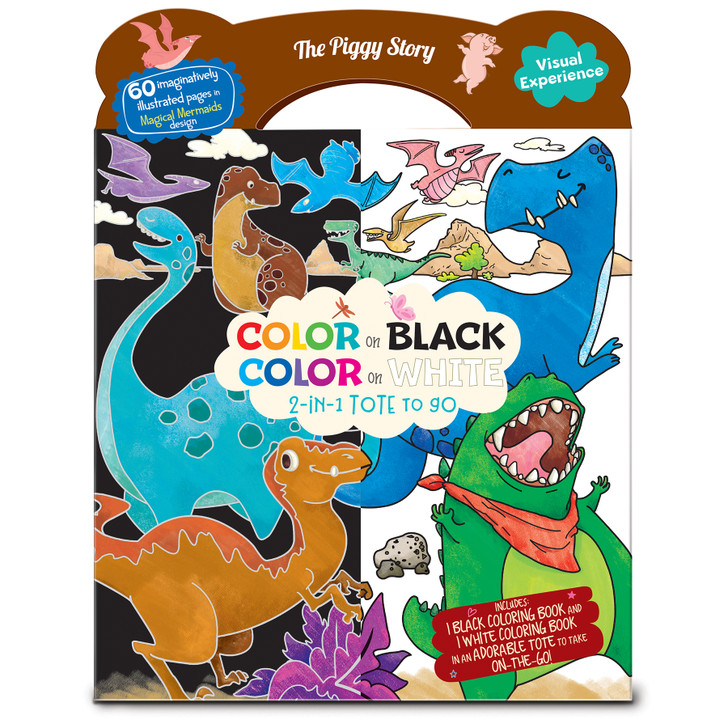 Color on Black, Color on White 2-in-1 coloring book tote in Dinosaur World Design