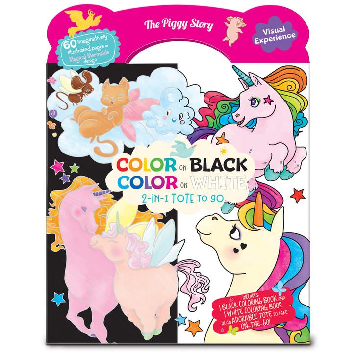 Color on Black, Color on White 2-in-1 coloring book tote in Unicorn Fantasy Design