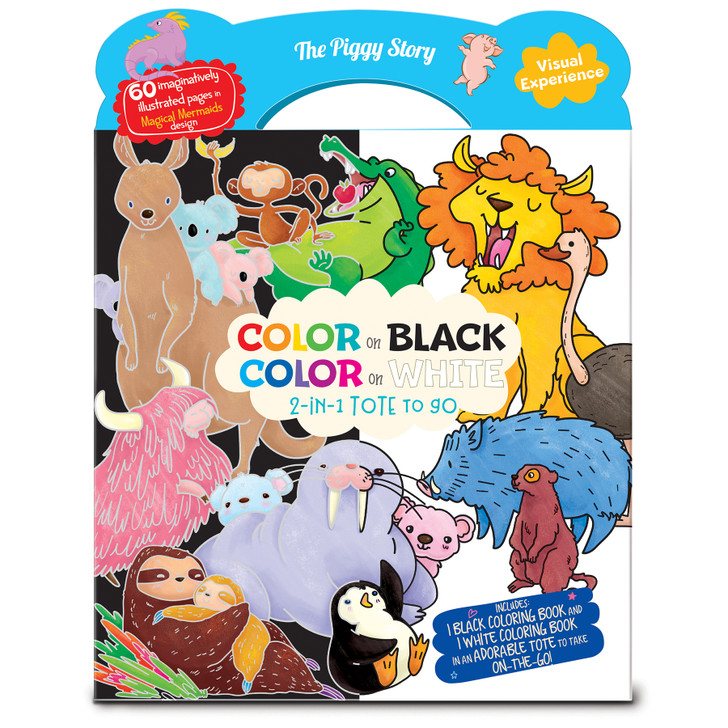 Color on Black, Color on White 2-in-1 coloring book tote in Animals Around the World Designs