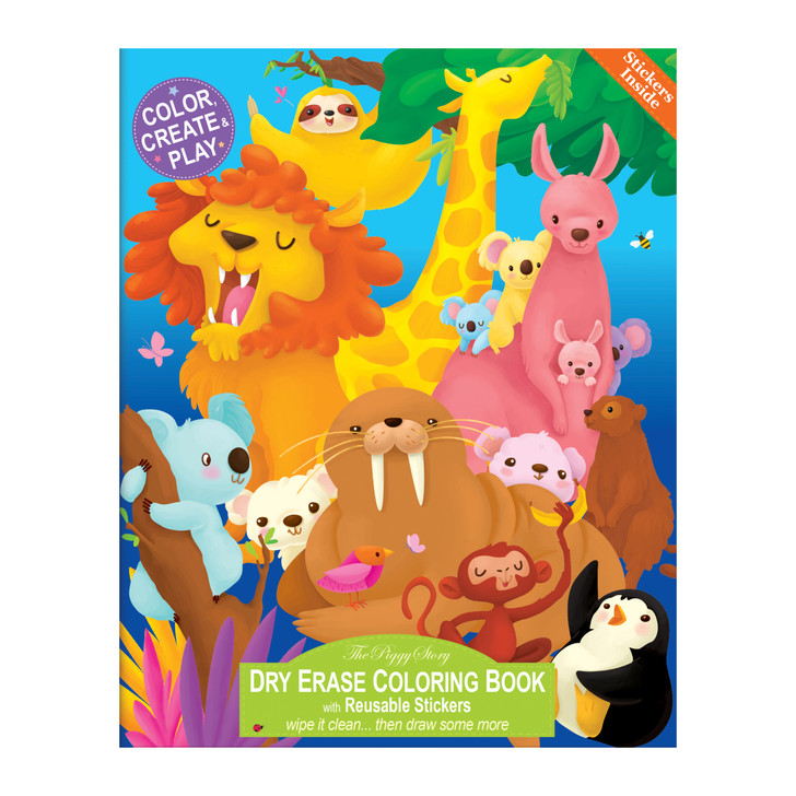 Color over and over again with our Animals Around the World Dry Erase Coloring Book.  Includes 2 pages of reusable stickers to create magical scenes.