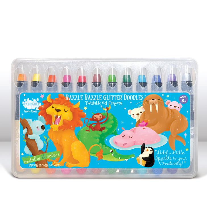 Animals Around the World Glitter Gel Crayons