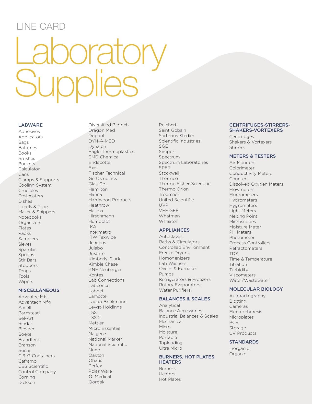Line Card - Advance Scientific & Chemical