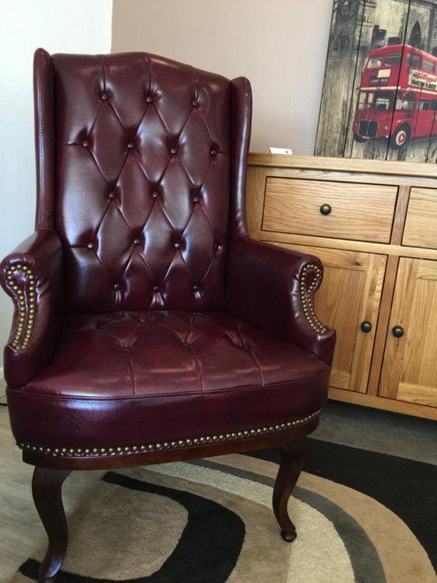 Chesterfield Style High Back Fireside Armchair in Ox-blood