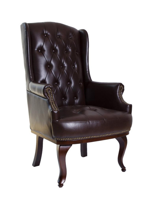 Chesterfield Style High Back Fireside Armchair in Chocolate Brown