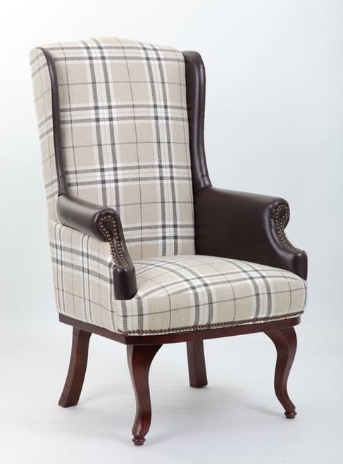 Chesterfield Style High Back Fireside Armchair Burberry Fabric