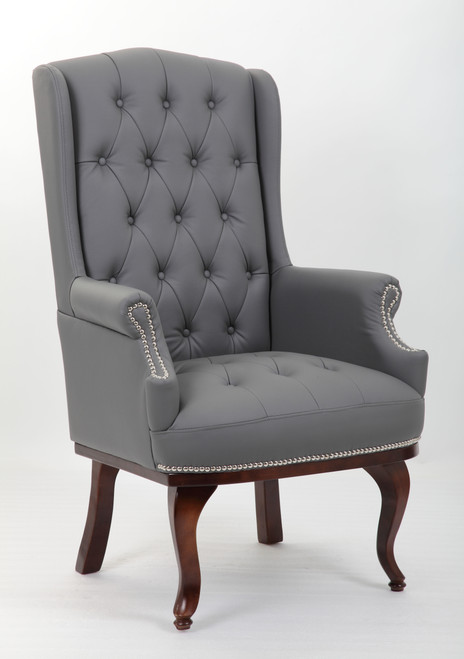 Chesterfield Style High Back Fireside Armchair in Grey