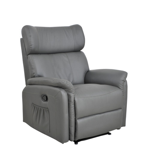 Manual Leather Recliner Armchair Sofa Lounge Home Chair Grey