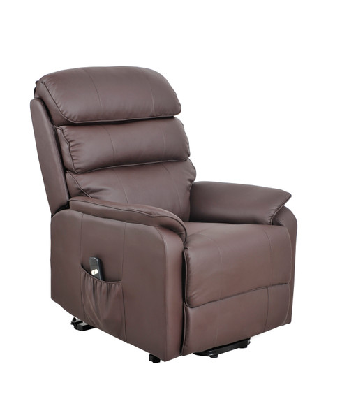 Electric bonded Leather Rise & Recliner Armchair Brown