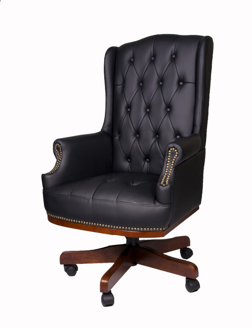 Chesterfield Style Bonded Leather Desk Swivel Chair Black