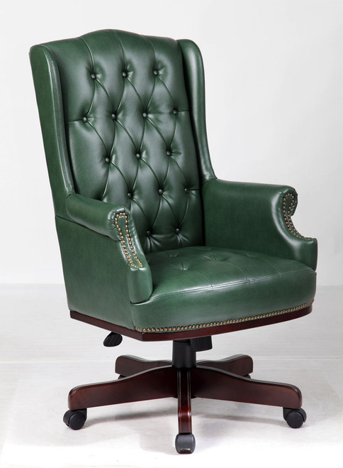 Chesterfield Style Bonded Leather Desk Swivel Chair Antique Green