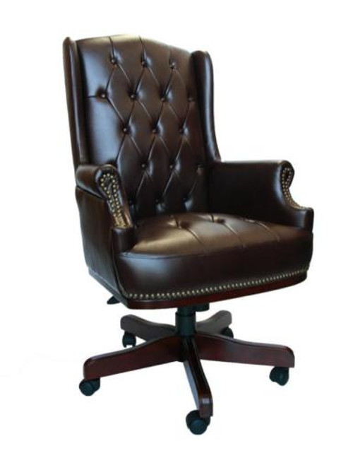 Chesterfield Style Bonded Leather Desk Swivel Chair Chocolate Brown
