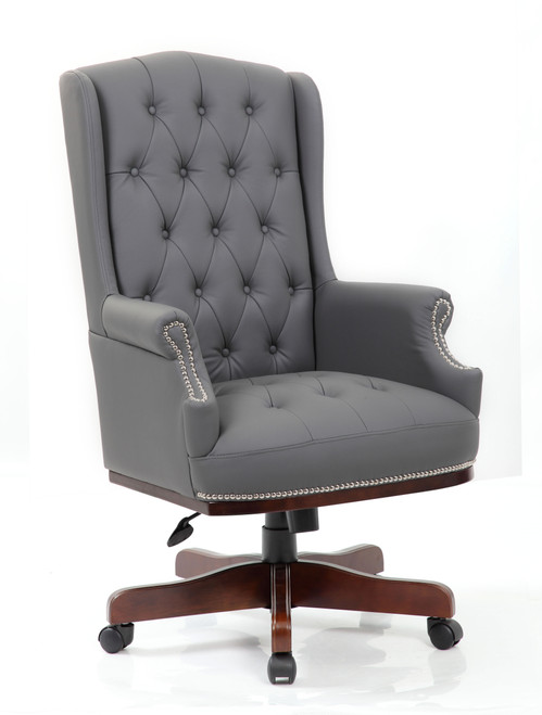 Chesterfield Style Bonded Leather Desk Swivel Chair in Grey