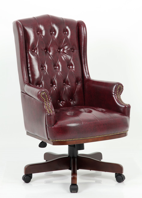 Chesterfield Style Bonded Leather Desk Swivel Chair Ox-Blood