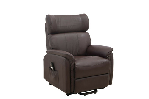 Dual motor brown leather rise and recliner