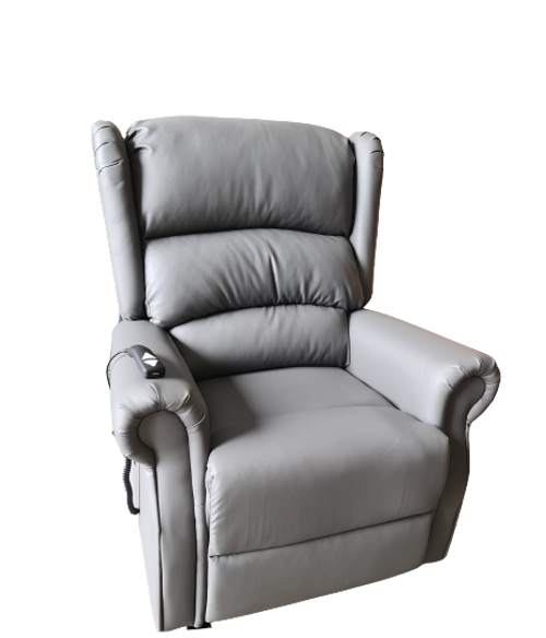 Cambridge Grey Bonded Leather Rise and Recline Armchair