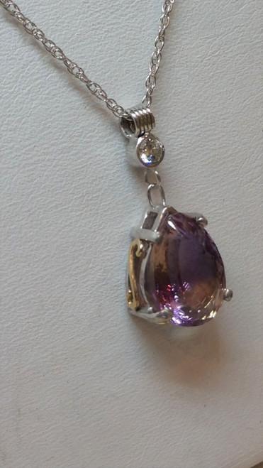 Ametrine and Diamond pendant in 14 k gold