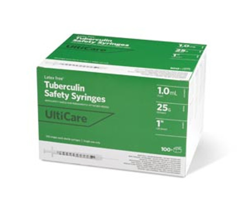 """Ultimed Ulticare Tuberculin Safety Syring w/Fixed Needle, 1mL 25g x 1"""""""