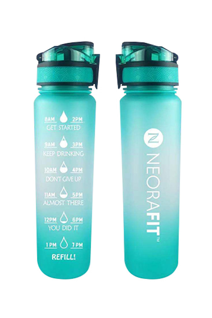 NeoraFit™ Teal Water Bottle with Motivational Time Markers (32oz)