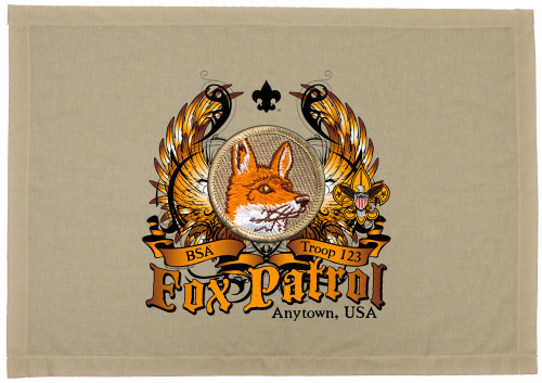Scouts BSA Patrol Patch Flag with Fox Patrol Patch