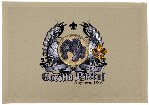 Scouts BSA Patrol Patch Flag with Gorilla Patrol Patch