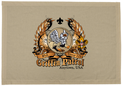Scouts BSA Patrol Patch Flag with Griffin Patrol Patch
