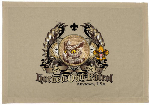 Scouts BSA Patrol Patch Flag with Horned Owl Patrol Patch