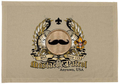 Scouts BSA Patrol Patch Flag with Mustache Patrol Patch