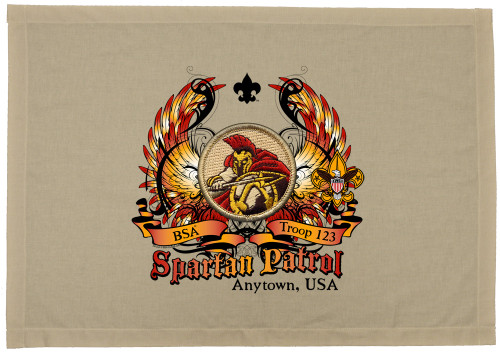 Scouts BSA Patrol Patch Flag with Spartan Patrol Patch
