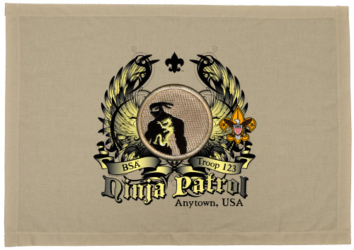 Scouts BSA Patrol Patch Flag with Ninja Patrol Patch