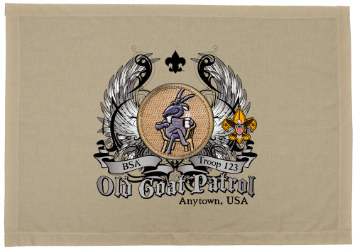 Scouts BSA Patrol Patch Flag with Old Goat Patrol Patch