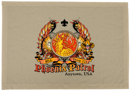 Scouts BSA Patrol Patch Flag with Phoenix Head Patrol Patch