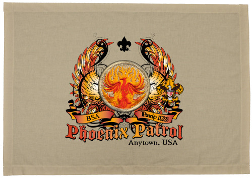Scouts BSA Patrol Patch Flag with Phoenix Patrol Patch