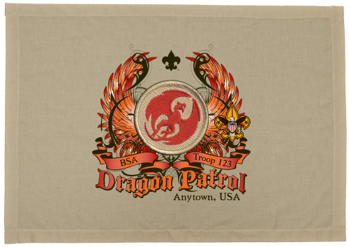 Scouts BSA Patrol Patch Flag with Red Dragon Patrol Patch