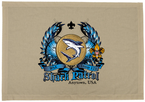 Scouts BSA Patrol Patch Flag with Shark Patrol Patch