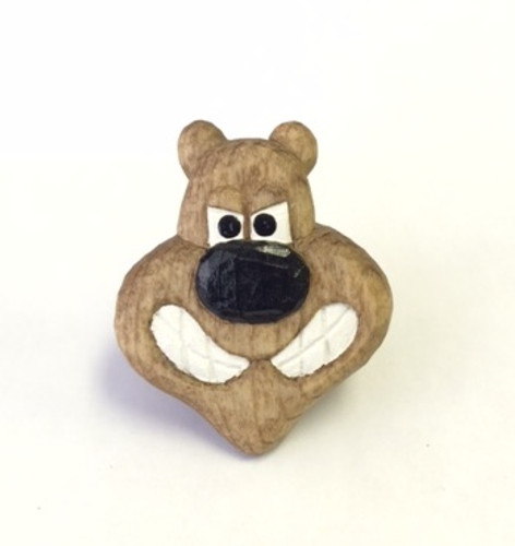 Wooded Wood Badge Neckerchief Slide of Wood Badge Bear - Front View