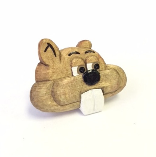 Wooded Wood Badge Neckerchief Slide of Wood Badge Beaver - Front View