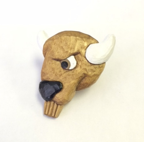Wooded Wood Badge Neckerchief Slide of Wood Badge Buffalo -Front View