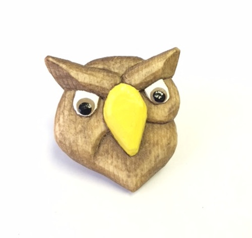 Wooded Wood Badge Neckerchief Slide of Wood Badge Owl -Front View