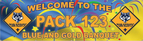 Custom Cub Scout Pack Blue and Gold Banquet Banner with Fireworks (SP5983)