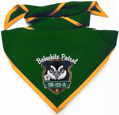 Wood Badge Neckerchief with Wood Badge Bobwhite Critter and Wood Badge Logo - Digital View