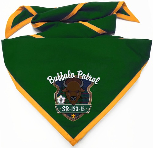 Wood Badge Neckerchief with Wood Badge Buffalo Critter and Wood Badge Logo - Digital View