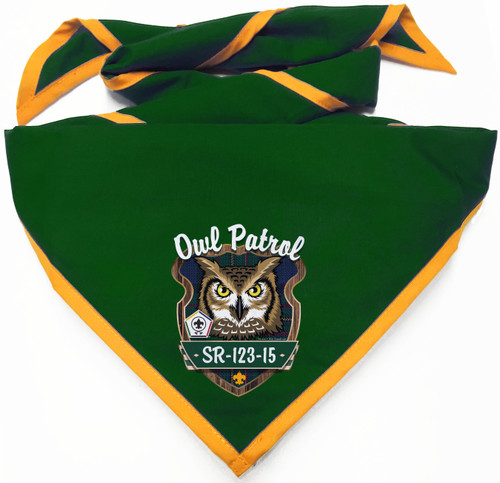 Wood Badge Neckerchief with Wood Badge Owl And Wood Badge Logo