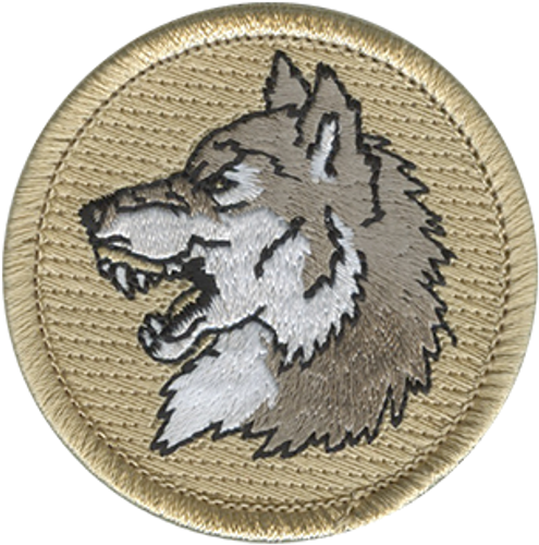 Wolf Head Scout Patrol Patch - embroidered 2 inch round