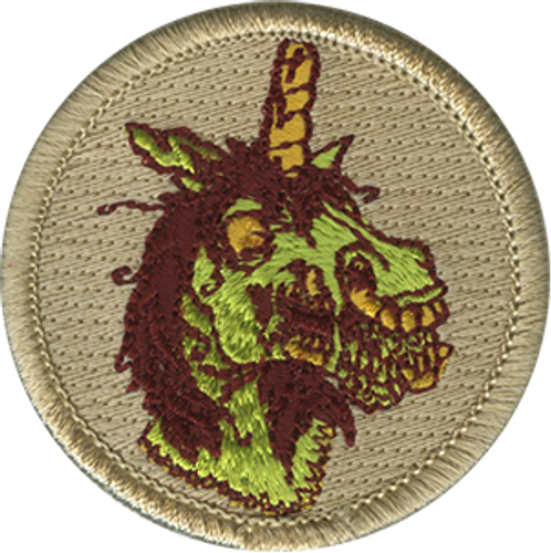 Zombie Unicorn Scout Patrol Patch - embroidered 2 inch round